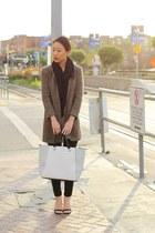 black single strap michael antonio heels - brown tweed Ralph Lauren coat
