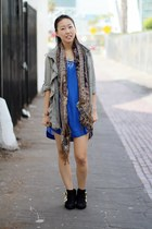 black unknown shoes - blue H&M dress - olive green unknown jacket