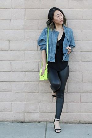 navy denim jacket free people jacket - black faux leather Nordstrom leggings