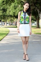 green floral mesh Prabal Gurung for Target top - white pleated Pink Basis skirt
