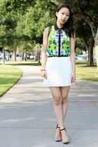 green floral mesh Prabal Gurung for Target top - white pleated Pink Basis skirt