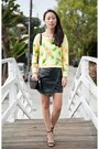 Yellow-choies-sweater-black-ross-purse-black-michael-antonio-heels