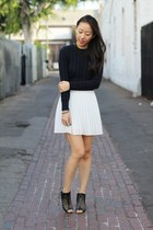 navy knit unknown sweater - white pleated unknown skirt