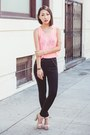 Bubble-gum-neon-knit-ross-top-black-scuba-knit-pants-eggshell-heels