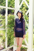 black f21 hat - black pleather f21 shorts - navy hand crochet top