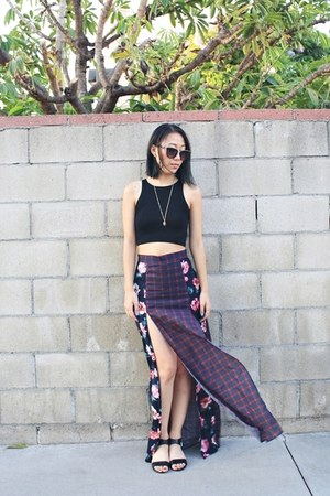 amethyst unknown brand skirt - brown Forever 21 sandals - black Aliexpress top