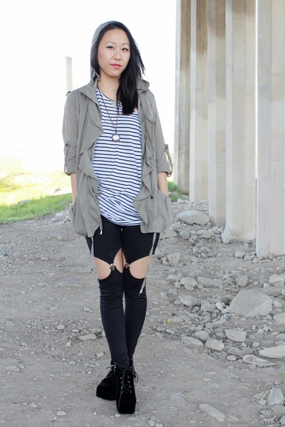 white H&M top - black boots - olive green anorak jacket - black garter leggings