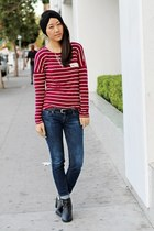 black Report shoes - blue H&M jeans - crimson unknown top