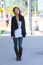 dark brown knee-high unknown boots - blue jeggings unknown leggings