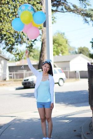 white shoes - blue shorts - aquamarine Forever 21 top