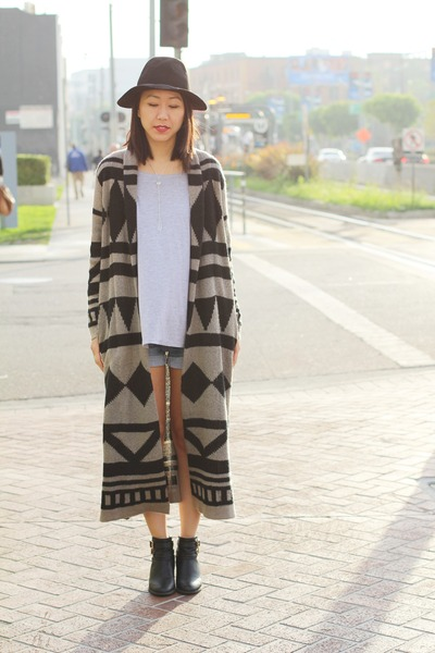 bronze long knit foreign exchange cardigan - black cut out Report shoes
