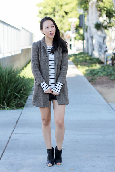 brown tweed Ralph Lauren coat - black pleather Forever 21 shorts