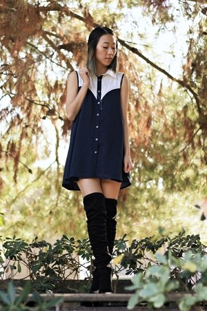 black Catherine Catherine Malandrino boots - navy dress