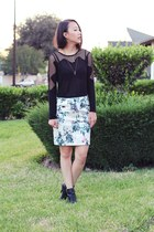 black unknown top - ivory sequins printed H&M skirt