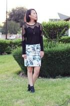 black unknown top - ivory sequins printed H&M skirt