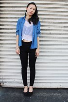 black pants - blue chambray top - white sheer striped top - black H&M wedges