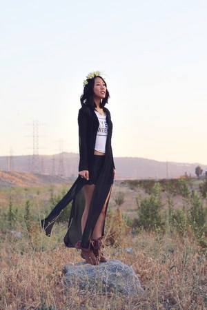 black thrifted cardigan - dark brown unknown boots - black Ross shorts