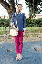 navy knit cotton on sweater - hot pink skinny fuchsia Sidecca pants