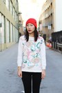 Ivory-knit-unknown-sweater-black-ankle-gold-cuff-shoes-red-knit-hat