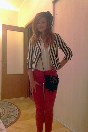 Forever 21 blazer - Zara jeans - vintage hat - River Island blouse