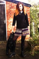 black Zara jumper - ivory striped shirt - purple River Island shorts