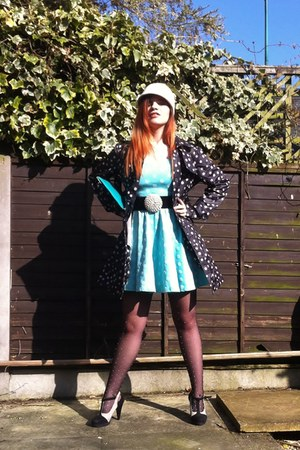 dark gray polka dots vintage coat - aquamarine polka dots random dress