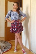 light blue vintage blouse - red River Island skirt