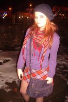 purple next purse - red vintage skirt - purple H&M sweater - red H&M scarf - pur