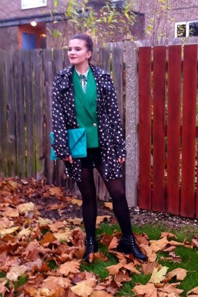 polka dots vintage coat - Zara blazer - polka dots vintage shirt