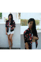black floral print PERSUNMALL jacket - white asymmetric Boohoo skirt