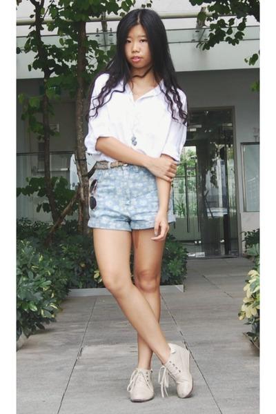 white banana republic blouse - aquamarine PERSUNMALL shorts