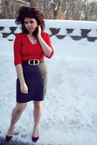 red shoes - gray skirt - red shirt - blue belt