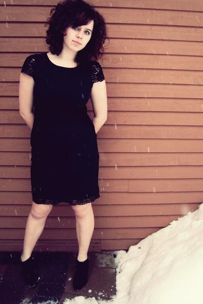 black dress - boots