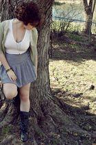 black boots - green cardigan - white t-shirt - gray skirt