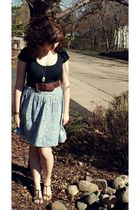 black top - blue thrifted skirt - brown belt