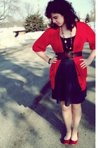 red cardigan - blue skirt - brown belt - black shirt - red shoes
