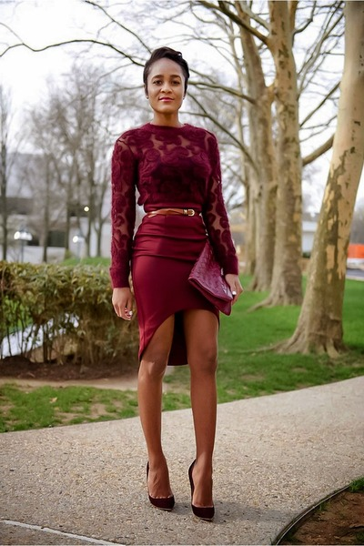 crimson asos skirt