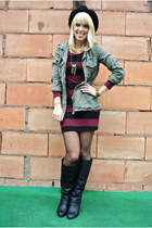 black foldover Charlotte Russe boots - crimson stripes H&M dress