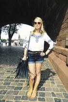 black fringe Charlotte Russe bag - blue deb shorts - tan gladiator deb sandals