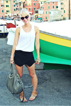 white knit tank banana republic top - black asymmetrical Sheinside skirt