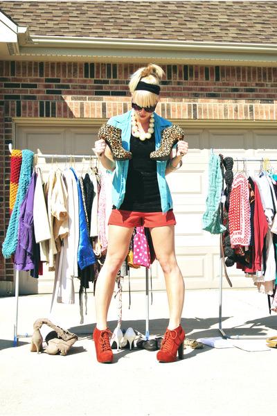 black lace Charlotte Russe top - orange Forever 21 shorts