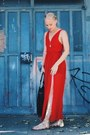Red-maxi-with-slit-romwe-dress-gold-gold-coin-hl-collection-bracelet