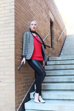 red layered crepe cynthia rowley shirt - BCNU blazer - black H&M pants