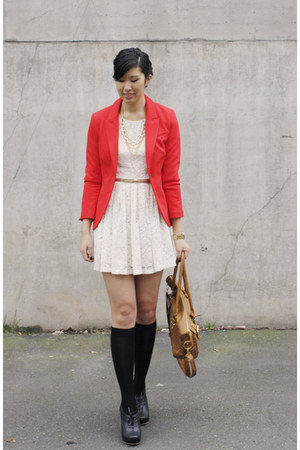 red H&M blazer - off white Forever 21 dress - black Soxxy socks
