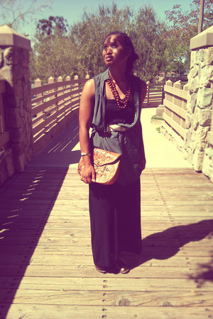 black maxi dress flea market dress - forest green Forever 21 dress - tawny flea
