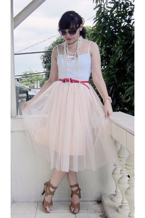 tan strappy Parisian heels - peach sheer  tulle WAGW skirt