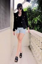 black clogs - black blazer - silver denim shorts