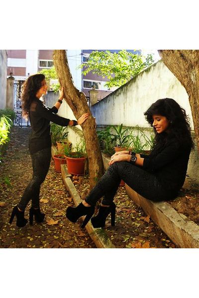 black Bershka shirt - black asos pants - black One watch