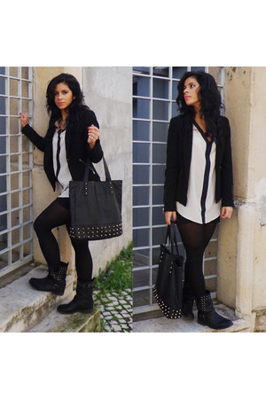 black Lefties boots - black Zara blazer - white Lefties shirt