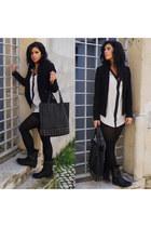 black Lefties boots - black Zara blazer - white Lefties shirt